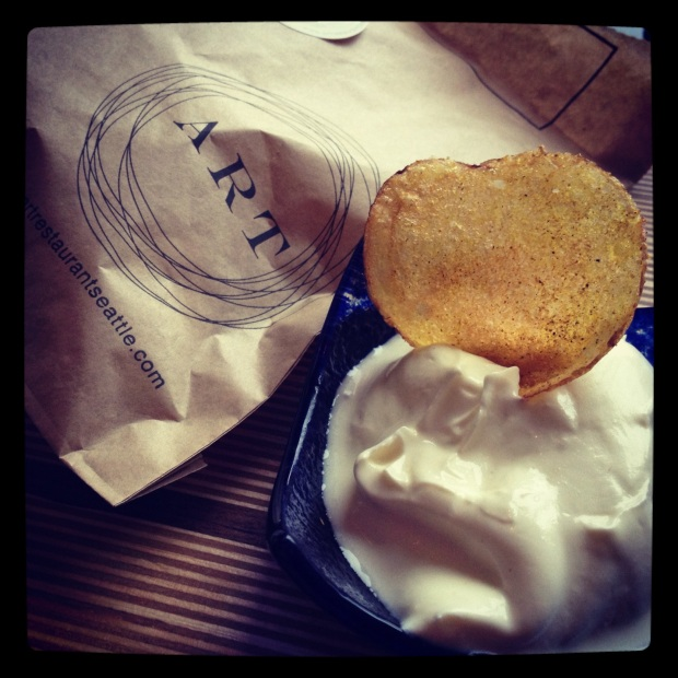 Curry potato chips with Greek yogurt... These also served as my next morning breakfast