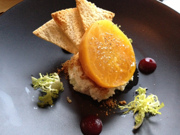 Golden beet salad with lemon ricotta (Galbiani) and house frisee