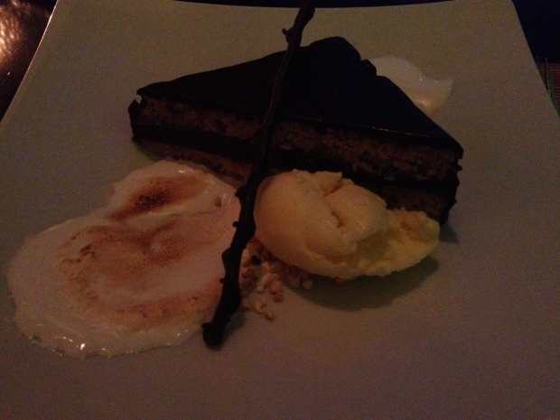 Chocolate graham cracker cake, bunch o fluff, brown sugar almond ice cream