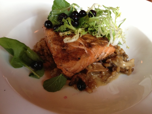 King salmon, emmer wheat,  foraged chanterelle mushroom, cascade huckleberries, toasted hazelnut