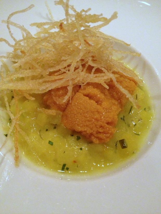 """""""Risotto"""" of «Yukon Gold» Potatoes with Local Saffron, Sea Urchin, Potato Frizzles"""