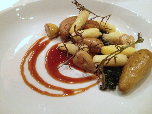 «Russet» Potato Gnocchi, Lacinato Kale, Sage-Roasted «Ozette» Potatoes, Roasted Chestnuts with Sage, Pancetta Lardons, Burnt Honey & Duck Jus.