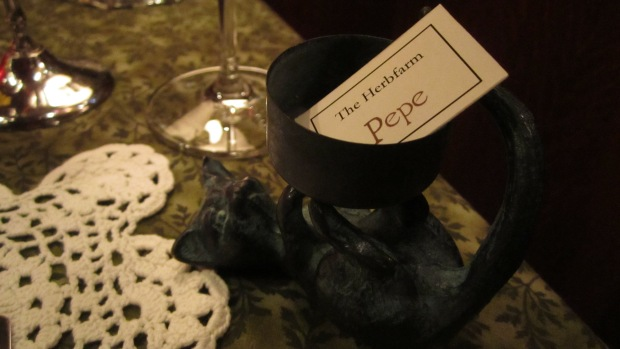 "Seated at the ""Pepe"" table"